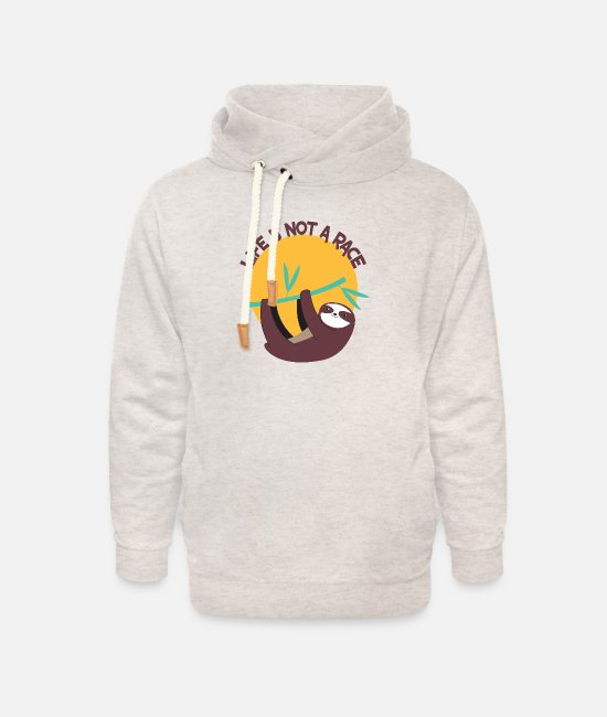 Nature Hoodies & Sweatshirts - SLOTH LIFE IS NOT A RACE - Unisex Shawl Collar Hoodie heather oatmeal