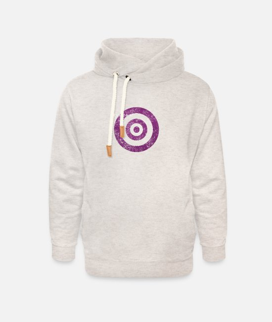 Graphic Art Hoodies & Sweatshirts - target_of_desire_violet - Unisex Shawl Collar Hoodie heather oatmeal