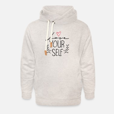 love yourself - Sweat à capuche cache-cou unisexe