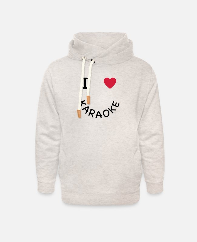Cable Hoodies & Sweatshirts - I love karaoke - Unisex Shawl Collar Hoodie heather oatmeal