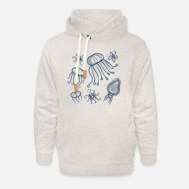 Marine animals in navy blue - Unisex Shawl Collar Hoodie