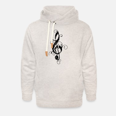 Concert Clef, note, sheet, music, musical, notes, classic - Unisex sjaalkraag hoodie