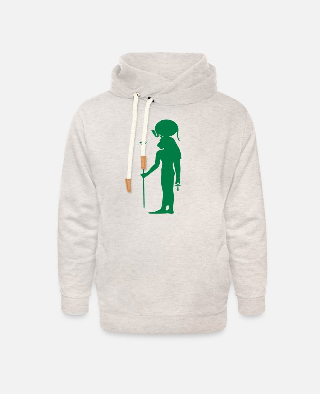 Archaeology Hoodies & Sweatshirts - Egyption God 26 - Unisex Shawl Collar Hoodie heather oatmeal