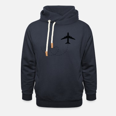 Airplane Airplane with heart - Unisex Shawl Collar Hoodie