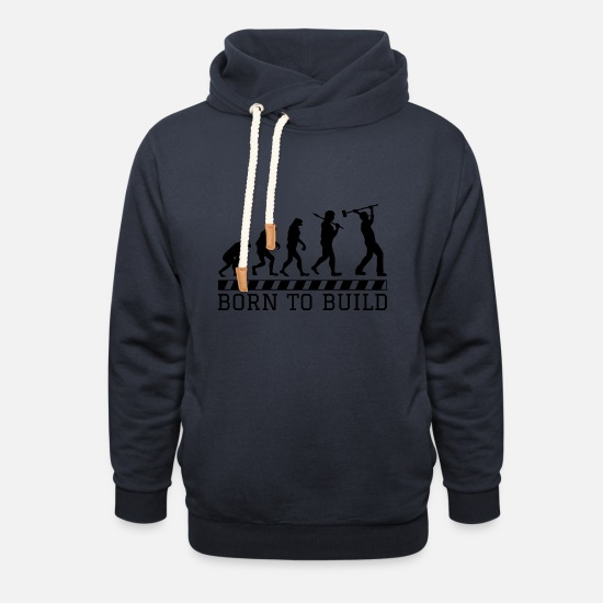 Funny Hoodies & Sweatshirts - Evolution construction worker occupation construction gift hammer - Unisex Shawl Collar Hoodie navy