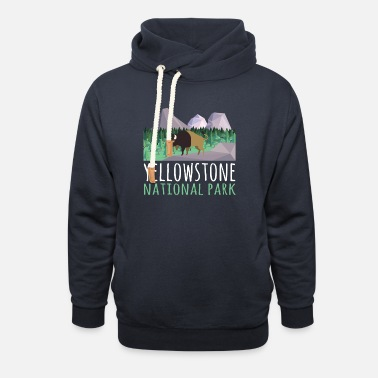 Helped Dome US Bison Buffalo Yellowstone National Park - Unisex Shawl Collar Hoodie