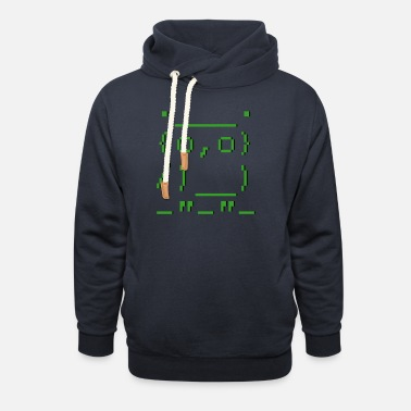 Graphic Picture Computer ASCII-art: owl - Unisex Shawl Collar Hoodie