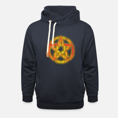 Pentacle Burning Pentacle Pentacle vintage - Unisex Shawl Collar Hoodie