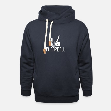 Floorball design white - Unisex Shawl Collar Hoodie