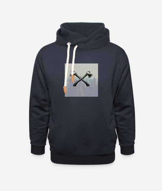 Beard Hoodies & Sweatshirts - Hipster ax tattoo - Unisex Shawl Collar Hoodie navy