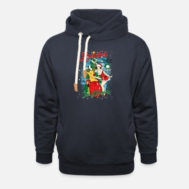 Pin-up NAUGHTY RUDOLPH - Reindeer Rudolph with pin-up - Unisex Shawl Collar Hoodie