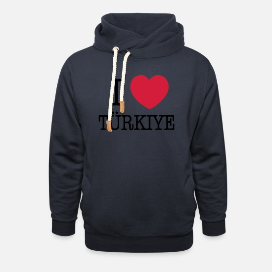 Love Sweat-shirts - I LOVE TURKEY - I LOVE TÜRKIYE - Sweat à capuche cache-cou unisexe marine