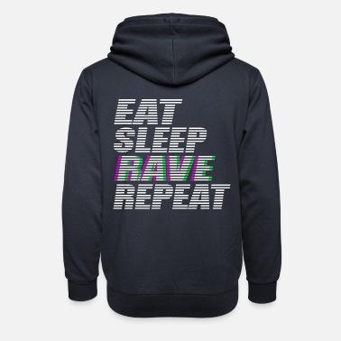 9794489e587a Rave Kläder äta sömn rave upprepa techno dj rave dubstep - Hoodie med  sjalkrage unisex