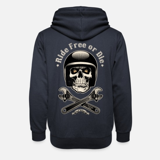 Bikes And Cars Collection V2 Hoodies & Sweatshirts - Ride free or die vintage - Unisex Shawl Collar Hoodie navy
