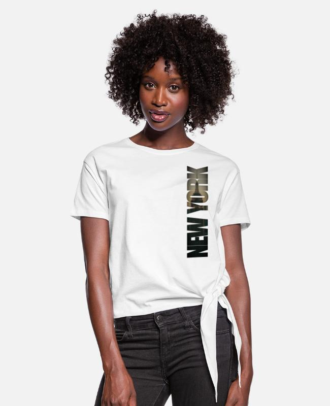New York City T-Shirts - New York City Burlesque - Women's Knotted T-Shirt white