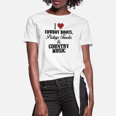 Country I love cowboy boots - Frauen Knotenshirt