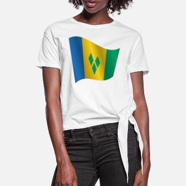 Saint Vincent And The Grenadines Waving Flag of Saint Vincent and the Grenadines - Women's Knotted T-Shirt