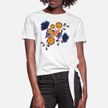 Rosenrot Flowers for Jeans - Frauen Knotenshirt
