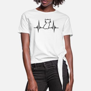 Frequency pulse, frequency, heartbeat, silhouette, gray, cut - Women's Knotted T-Shirt