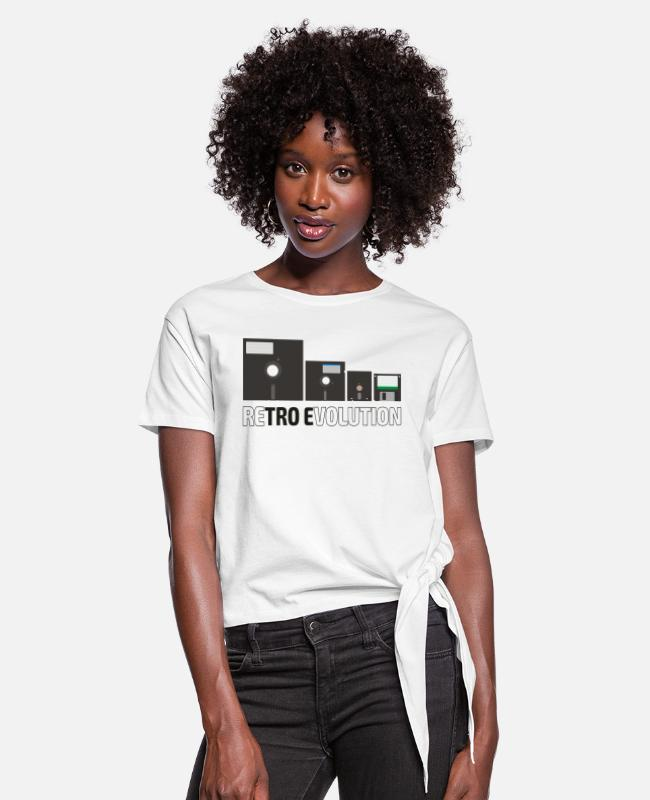 C64 T-Shirts - Set of the floppy disks (4) - Women's Knotted T-Shirt white