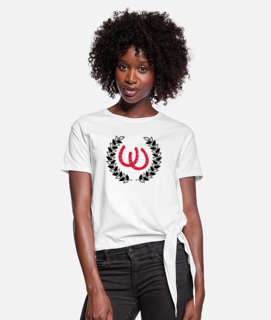 Competition T-Shirts - horseshoes wreath - Women's Knotted T-Shirt white