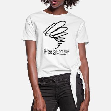 Stick Figure storm - Women's Knotted T-Shirt