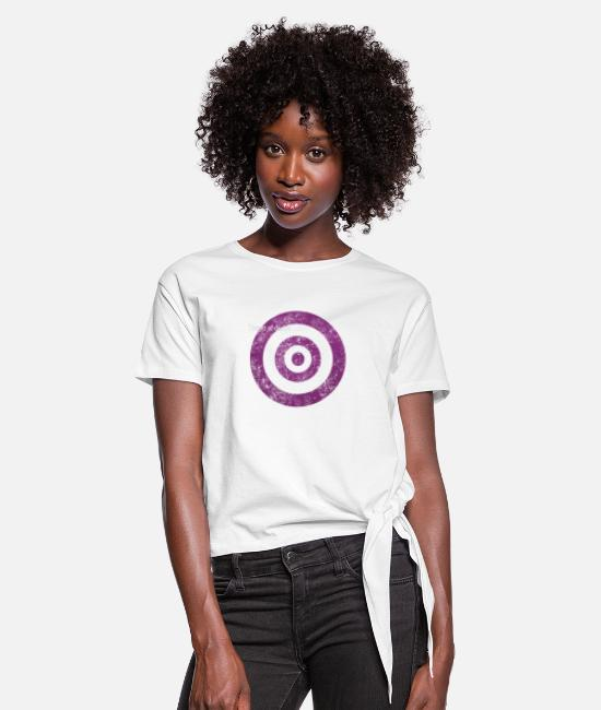 Graphic Art T-Shirts - target_of_desire_violet - Women's Knotted T-Shirt white