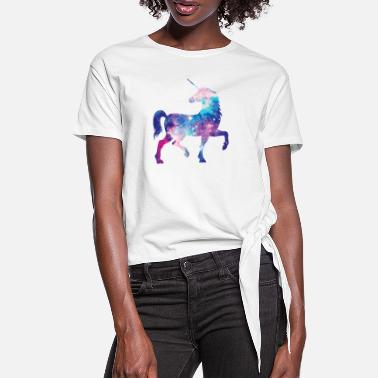 Unicorn with constellation design - Women's Knotted T-Shirt