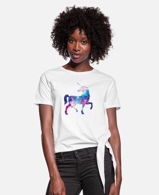 Galaxy T-Shirts - Unicorn with constellation design - Women's Knotted T-Shirt white