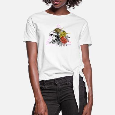Graphic Art Aztec Native American Woman Headdress T-shirt - Frauen Knotenshirt
