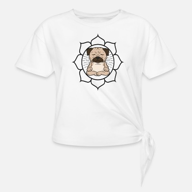 Meditate cute cool meditation yoga pug pug dog - Knotted T-Shirt