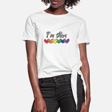 Coppia Gay Couple Gifts Matching LGBT Im Hers Gay Pride - Maglietta annodata da donna