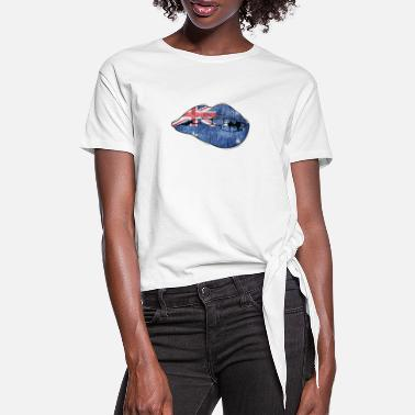 Dollars Australia mouth bites on lips flag - Women's Knotted T-Shirt