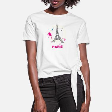 Notre Dame paris eiffel tower scribble love fasion trip tourist - Women's Knotted T-Shirt