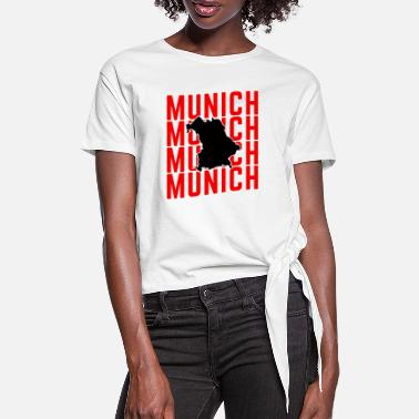Munich Munich Red Lettering Map - Women's Knotted T-Shirt