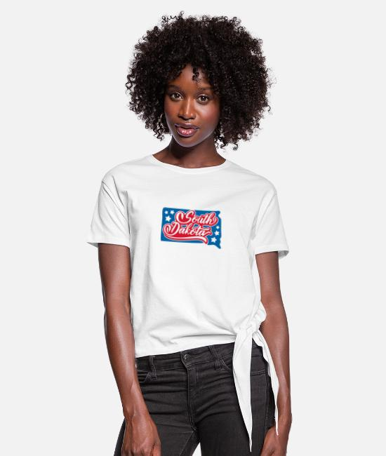 South Beach T-Shirts - South dakota - Women's Knotted T-Shirt white