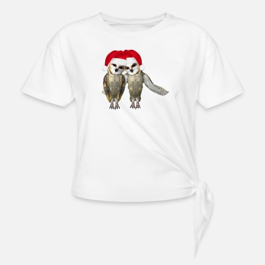 Couples Owls couple Christmas - Knotted T-Shirt
