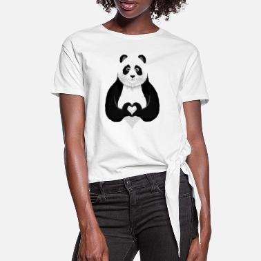 Collections Cute Panda Heart Hand Sign - T-shirt med knut dam