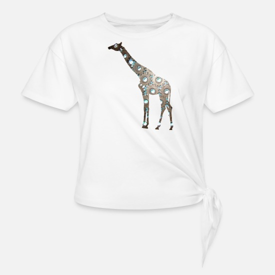 Unusual T-Shirts - Giraffe in Metal - Knotted T-Shirt white