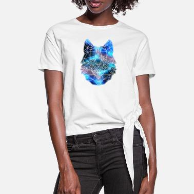 Wolfpack Polygon Wolf Tier Wildnis Space Galaxie Universum - Frauen Knotenshirt