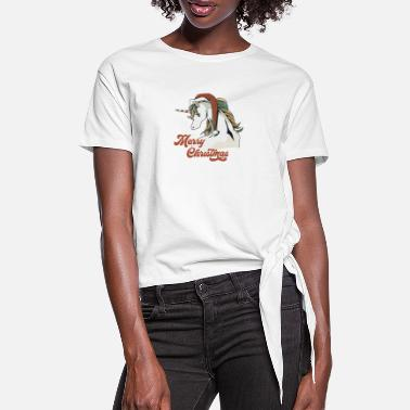 Alternative MERRY CHRISTMAS UNICORN 4 2 - Women's Knotted T-Shirt