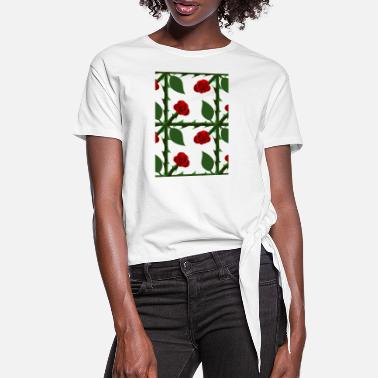 Pattern Red Rose Pattern - Women's Knotted T-Shirt