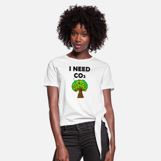 Enviromental T-Shirts - co2 is good for the world - Women's Knotted T-Shirt white