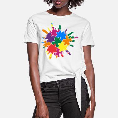 Autism Awareness Autism Awareness Puzzle Colorful Splash - Women's Knotted T-Shirt