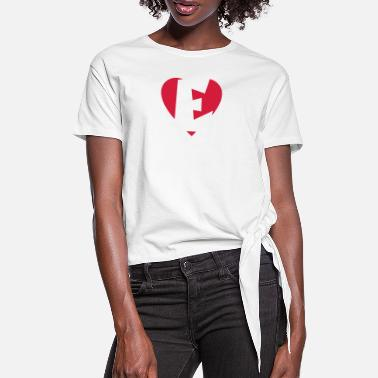 Ella Heart E - I love E - Women's Knotted T-Shirt