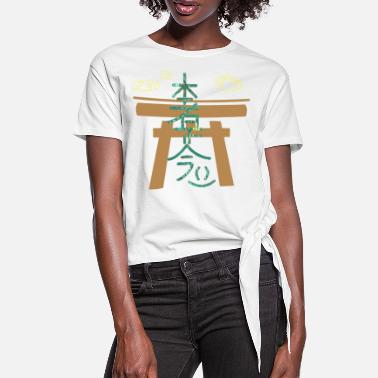 Far East hon sha ze sho nen e 71 in front of a shrine with clouds - Women's Knotted T-Shirt