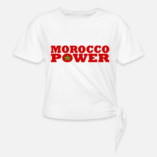 Querer Camisetas - Maroc - Marruecos - Marruecos Power - Camiseta con nudo blanco
