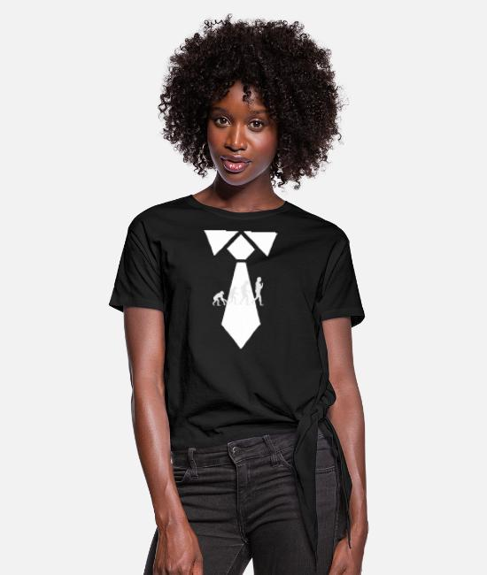 Man T-Shirts - Evolution tie - Women's Knotted T-Shirt black