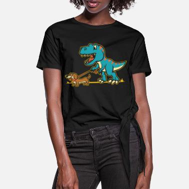 Dinosaurs and dachshunds - Women's Knotted T-Shirt