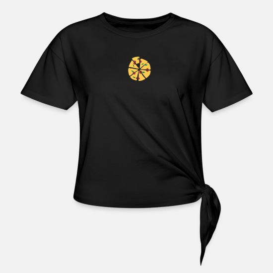 Gift Idea T-Shirts - Pizza - Knotted T-Shirt black